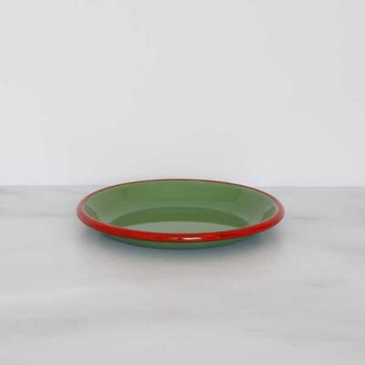 Kırmızı Yeşil Emaye Küçük Tabak - Thumbnail