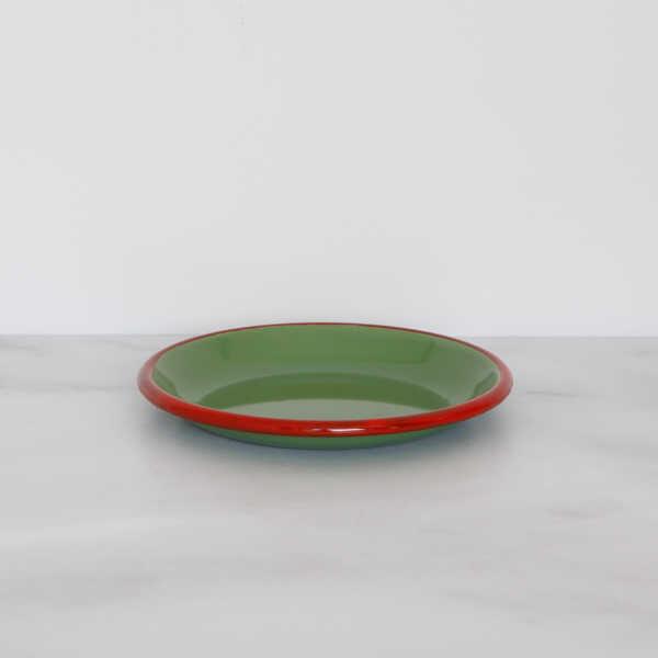 Kırmızı Yeşil Emaye Küçük Tabak
