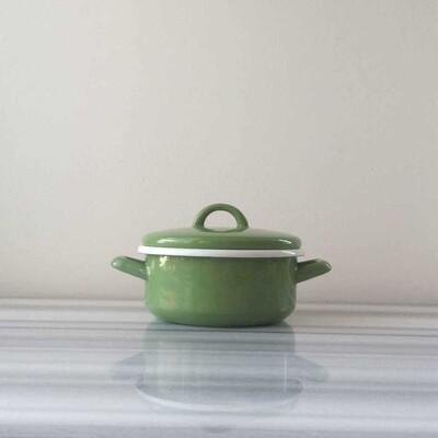 Yeşil Küçük Emaye Tencere - Thumbnail
