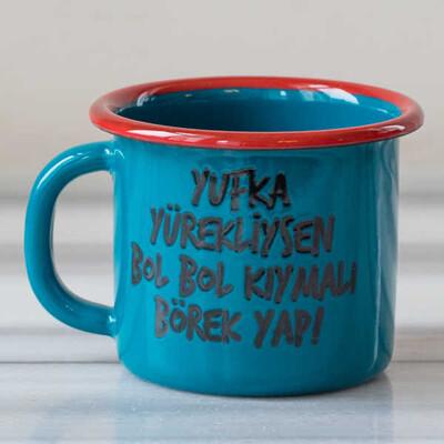 Yufka Yürek, Kıymalı Börek Emaye Kupa - Mavi - Thumbnail
