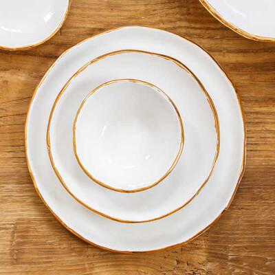 Altın Yaldızlı 4 Kişilik Seramik Yemek Seti - Thumbnail