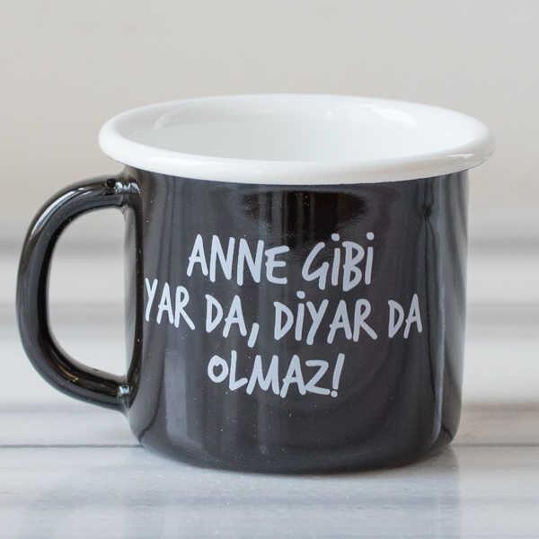 Anne Gibi Yar Emaye Kupa - Siyah
