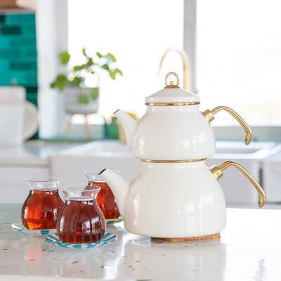 Antik Krem Emaye Çaydanlık - Thumbnail