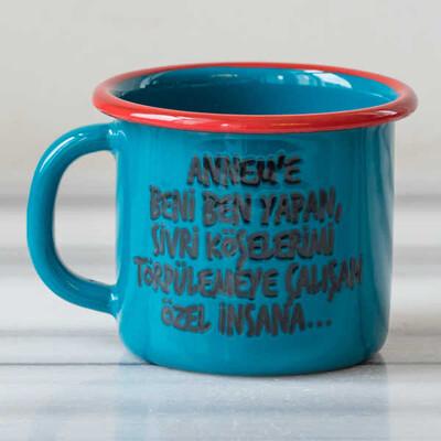 Beni Ben Yapan Annem'e Emaye Kupa - Mavi - Thumbnail