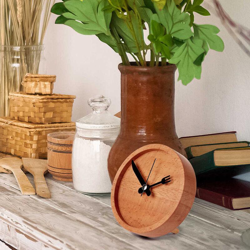 Dekoratif Çatal-Bıçaklı Ahşap Saat | 13 cm