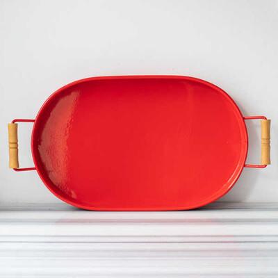 Galvaniz Kırmızı Oval Tepsi - 47 cm. - Thumbnail