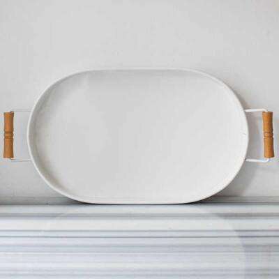 Galvaniz Beyaz Oval Tepsi - 47 cm. - Thumbnail