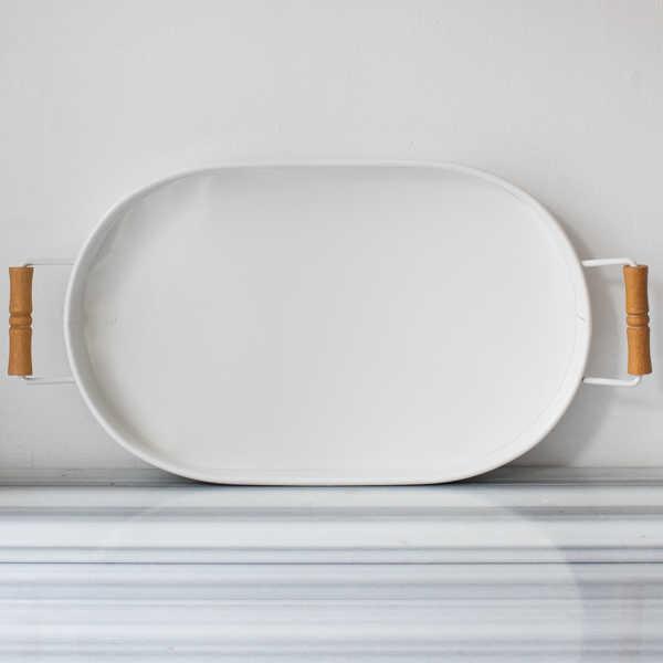 Galvaniz Beyaz Oval Tepsi - 47 cm.