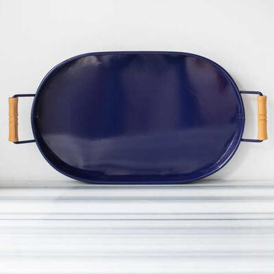Galvaniz Lacivert Oval Tepsi - 47 cm. - Thumbnail