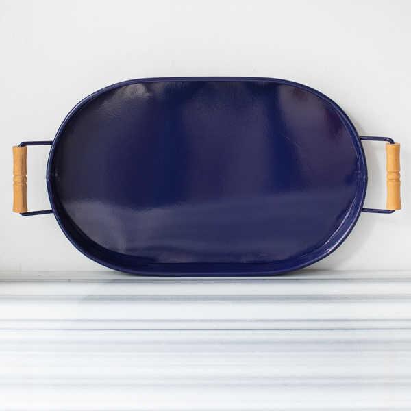 Galvaniz Lacivert Oval Tepsi - 47 cm.