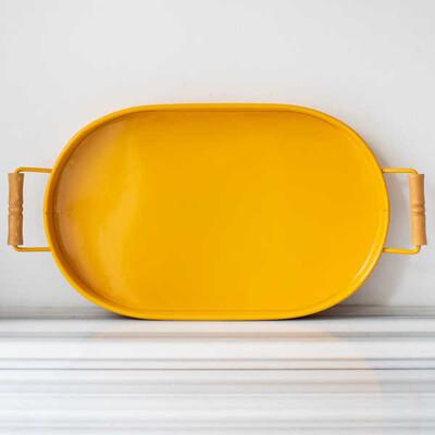 Galvaniz Sarı Oval Tepsi - 47 cm. - Thumbnail