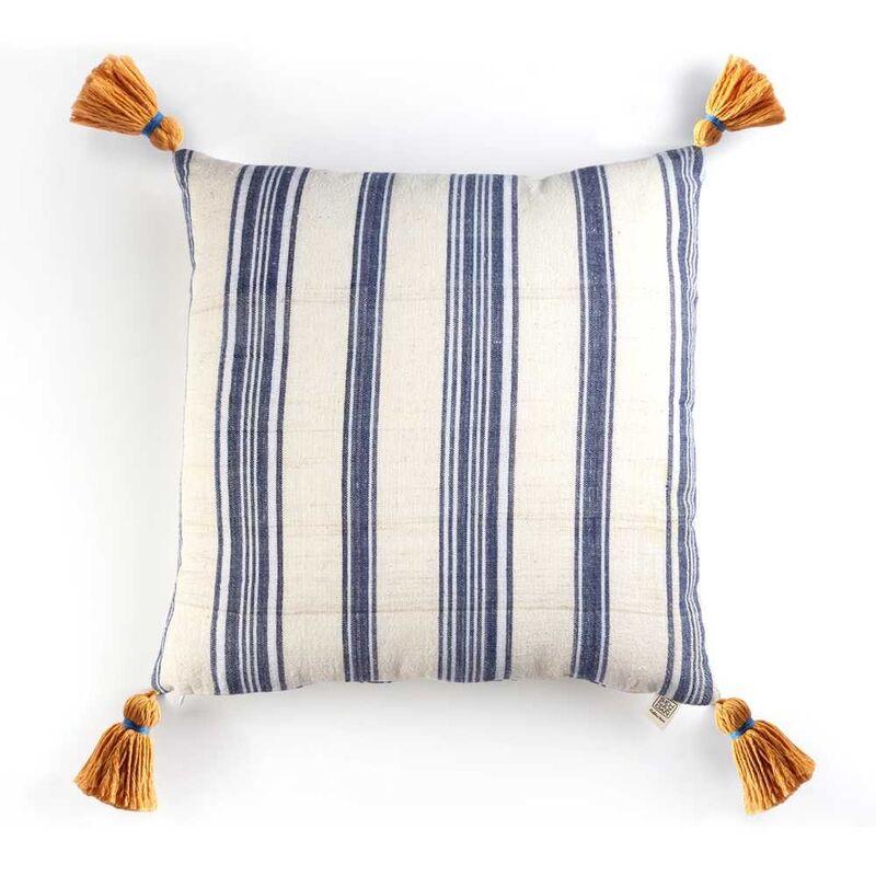 Kandıra Keten Bezi Lacivert Çizgili Yastık | 40 cm