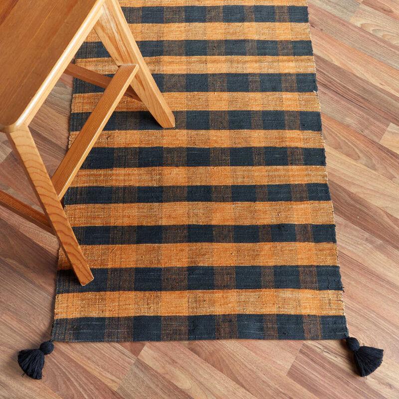 Kandıra Dokuma Sarı - Siyah Çizgili Kilim | 55 x 125 cm.