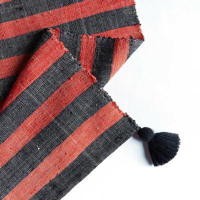 Kandıra Dokuma Kırmızı - Siyah Çizgili Kilim | 60 x 125 cm. - Thumbnail
