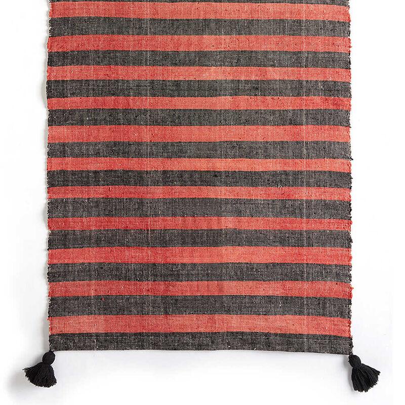Kandıra Dokuma Kırmızı - Siyah Çizgili Kilim | 60 x 125 cm.