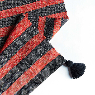 Kandıra Dokuma Kırmızı - Siyah Çizgili Kilim   60 x 125 cm. - Thumbnail