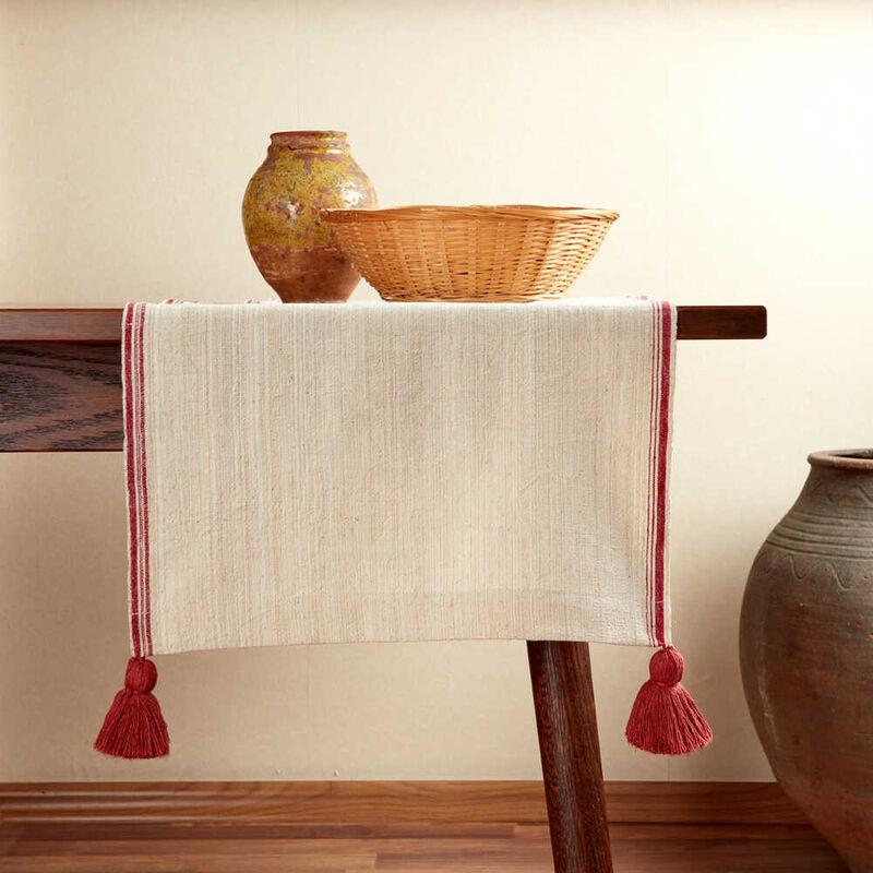 Kandıra Keteni Kenarı Kırmızı Bantlı Runner | 45 x 160 cm.