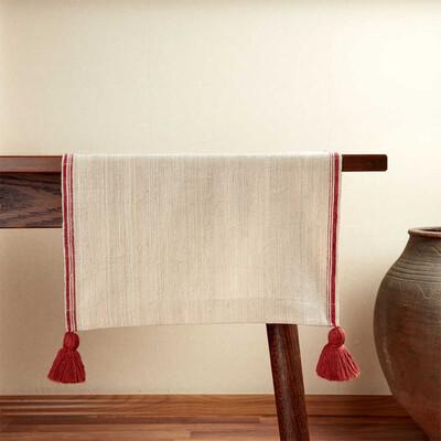 Kandıra Keteni Kenarı Kırmızı Bantlı Runner | 45 x 160 cm. - Thumbnail