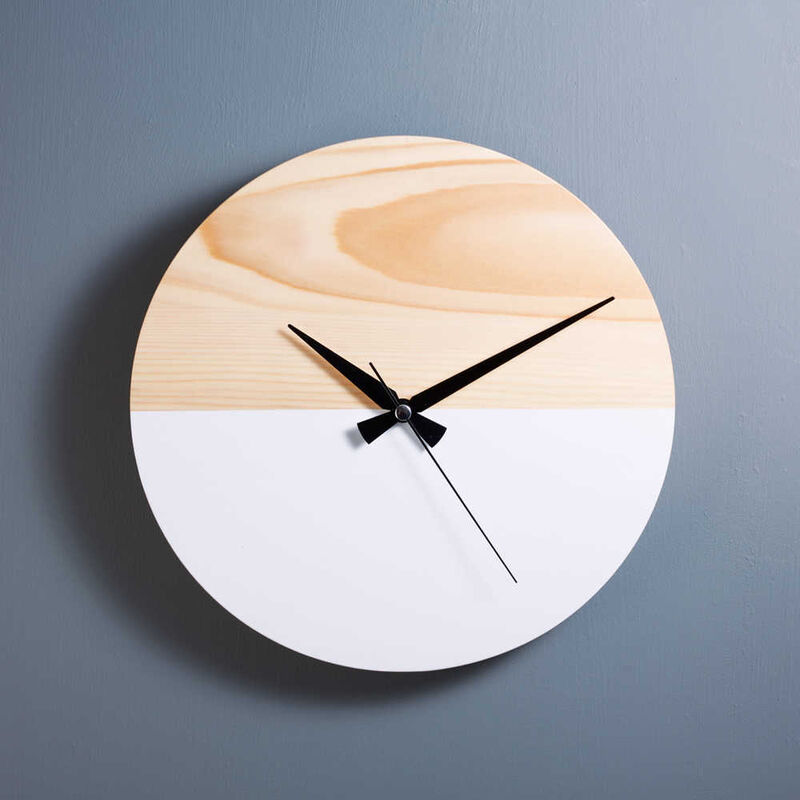 Dekoratif Ahşap Beyaz Saat | 29 cm
