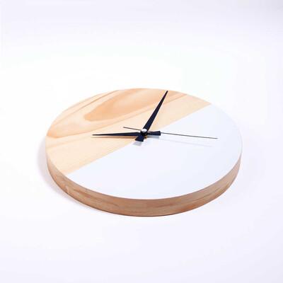 Dekoratif Ahşap Beyaz Saat | 29 cm - Thumbnail