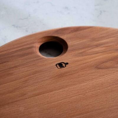 Kayın Ağacından Yuvarlak Kesme - Sunum Tahtası | 38 cm. - Thumbnail