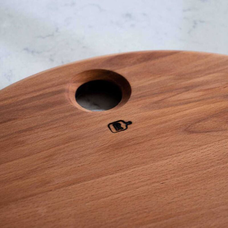 Kayın Ağacından Yuvarlak Kesme - Sunum Tahtası | 38 cm.