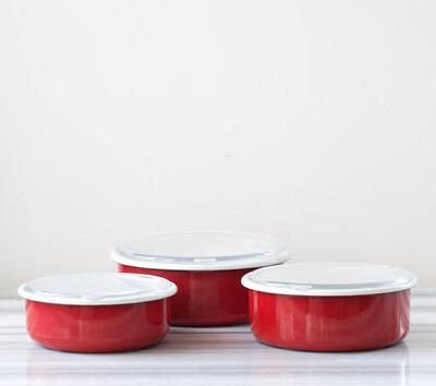 Kırmızı 3'Lü Sakla, Pişir, Sun, Ye Kapları - Thumbnail