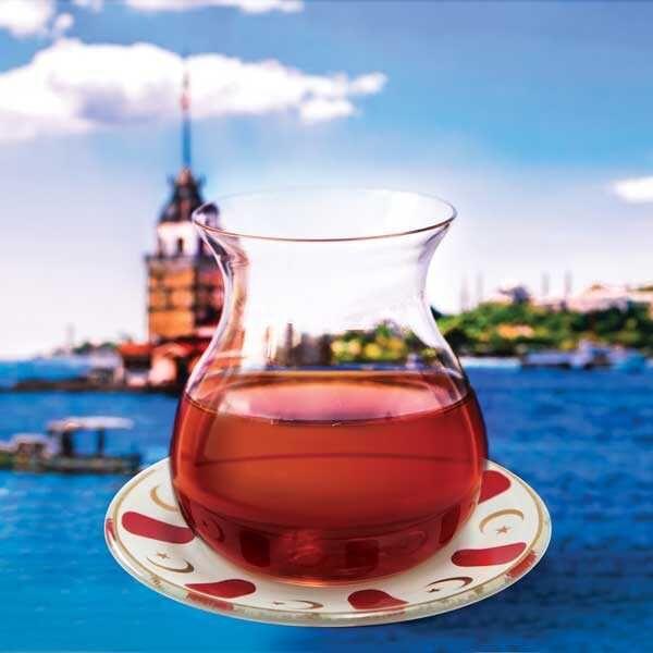 Kırmızı Ayyıldız Tabaklı Gönlübol Çay Bardağı