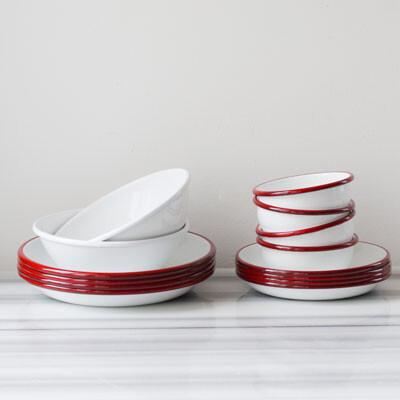 Kırmızı Beyaz Emaye Yemek Seti - Thumbnail