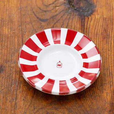 Kırmızı Biyeli Cam Çay Tabağı - Thumbnail
