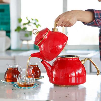 Kırmızı Emaye Çaydanlık - Thumbnail