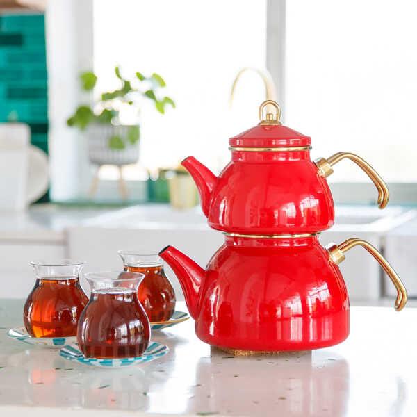 Kırmızı Emaye Çaydanlık
