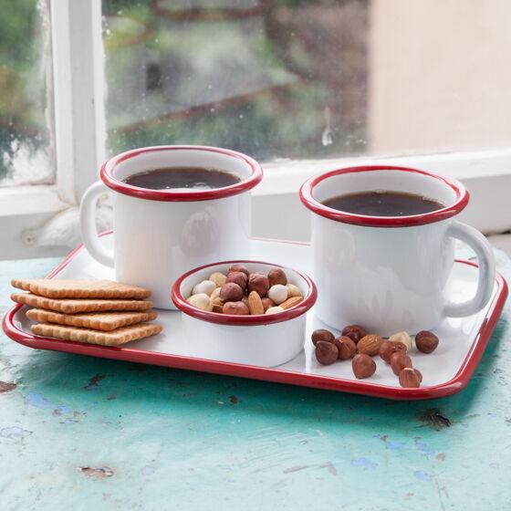 Kırmızı Emaye İki Kişilik Çay & Kahve Seti