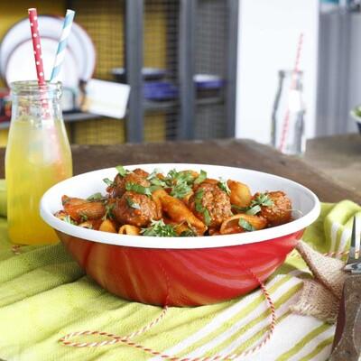 Kırmızı Emaye Salata Kasesi - Thumbnail