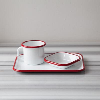 Kırmızı Emaye Tek Kişilik Çay & Kahve Seti - Thumbnail