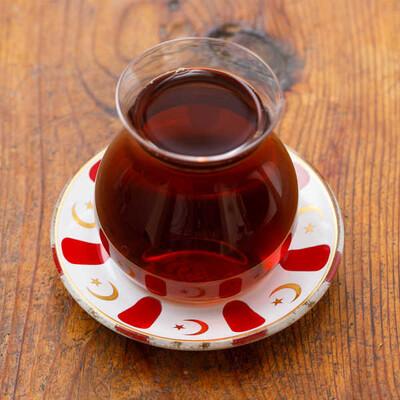 Kırmızı Yaldızlı Cam Çay Tabağı - Thumbnail