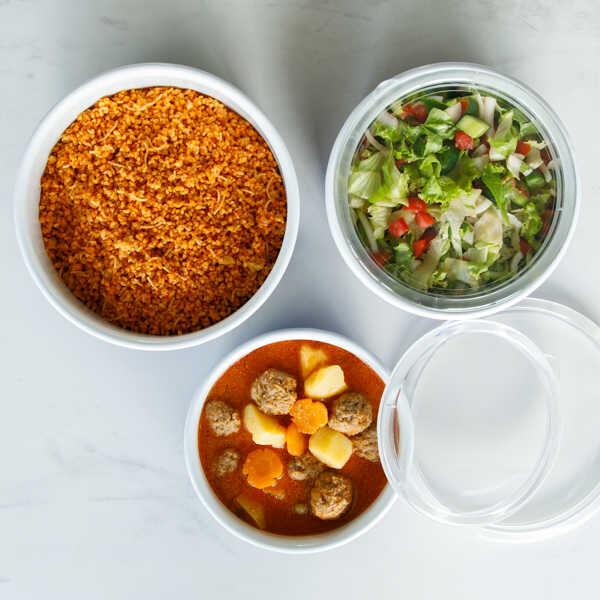 Lacivert 3'lü Sakla, Pişir, Sun, Ye Kapları
