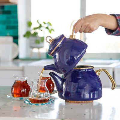 Lacivert Emaye Çaydanlık - Thumbnail