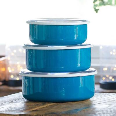 Mavi 3'lü Sakla, Pişir, Sun, Ye Kapları - Thumbnail