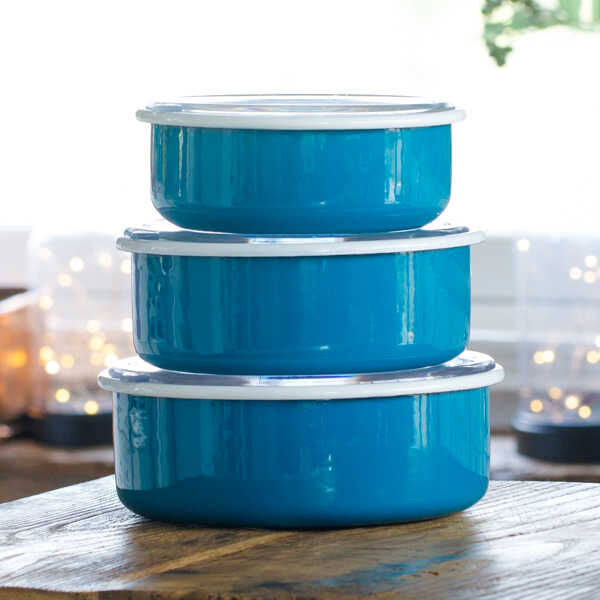 Mavi 3'lü Sakla, Pişir, Sun, Ye Kapları
