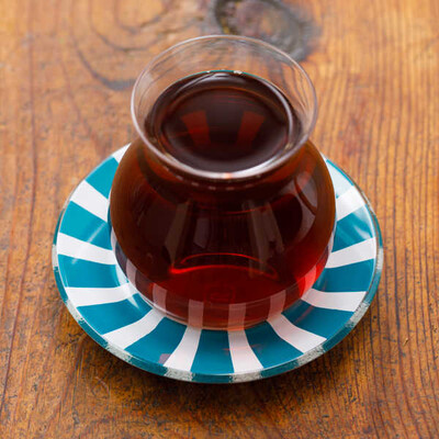Mavi Biyeli Cam Çay Tabağı - Thumbnail