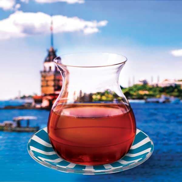 Mavi Cam Tabaklı Gönlübol Çay Bardağı