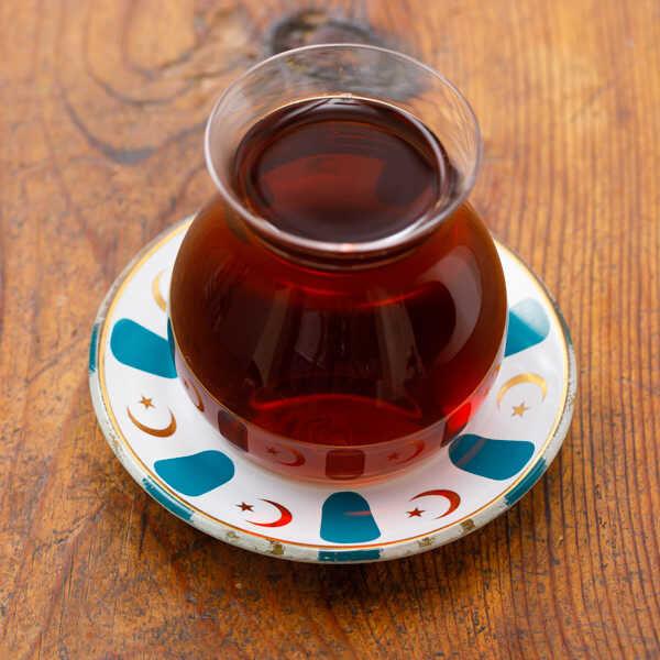 Mavi Yaldızlı Cam Çay Tabağı