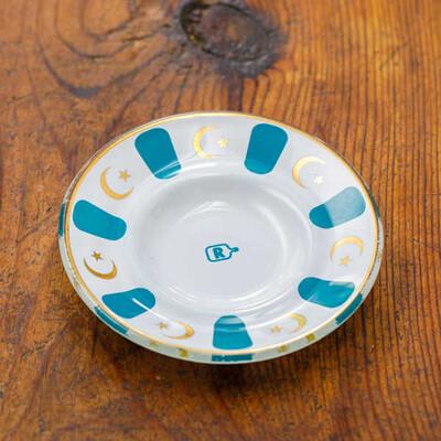 Mavi Yaldızlı Cam Çay Tabağı - Thumbnail