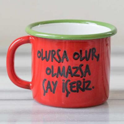 Olmazsa Çay İçeriz Emaye Kupa - Kırmızı - Thumbnail