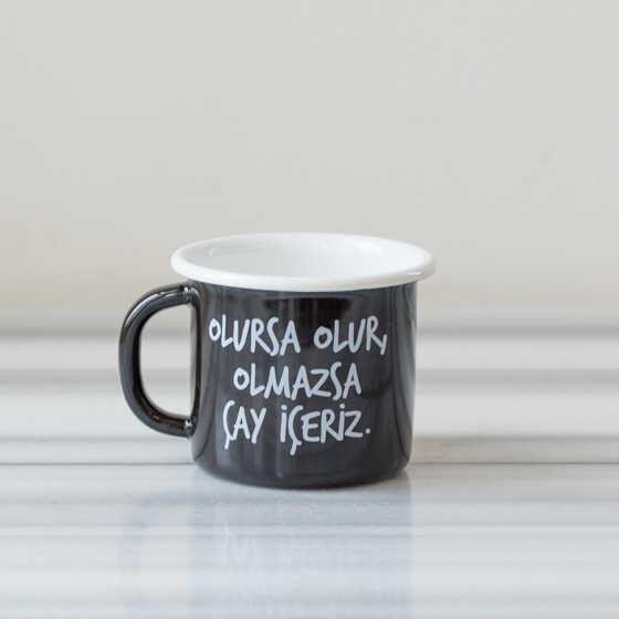 Olmazsa Çay İçeriz Emaye Kupa - Siyah