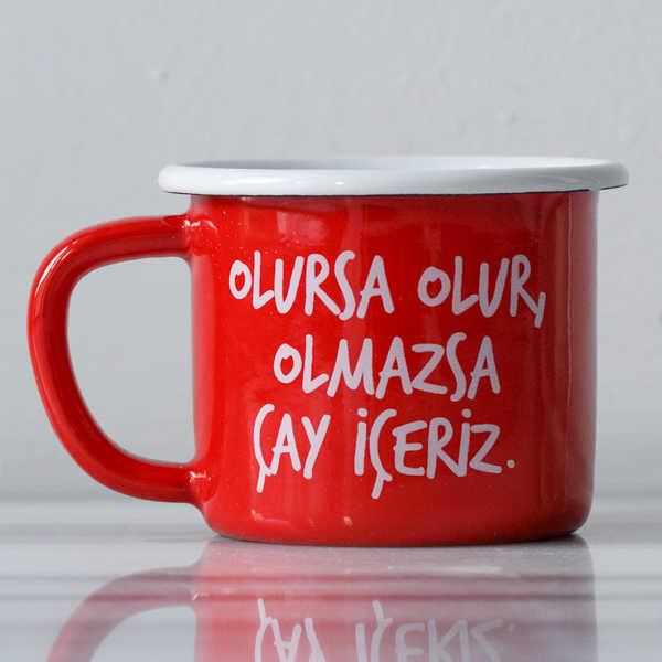 Olmazsa Çay İçeriz Kırmızı Emaye Kupa