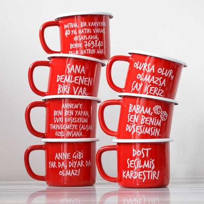 Olmazsa Çay İçeriz Kırmızı Emaye Kupa - Thumbnail