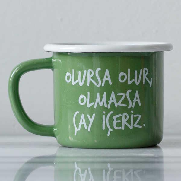 Olmazsa Çay İçeriz Yeşil Emaye Kupa