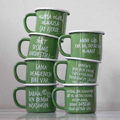 Olmazsa Çay İçeriz Yeşil Emaye Kupa - Thumbnail